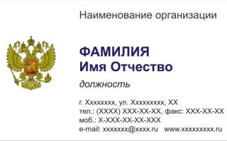 Бесплатный макет Визитки «Государство» 0021