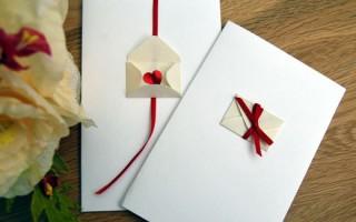 Открытка с конвертом и красной ленточкой своими руками