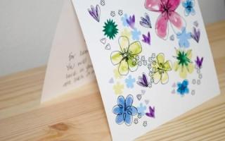 Шаблон для печати открытки с разноцветными цветочками