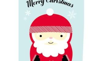 Готовый шаблон для печати открытки с надписью MERRY CHRISTMAS и снежинками