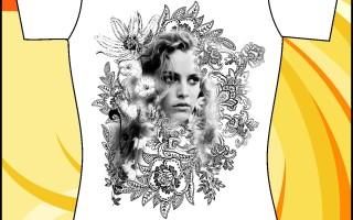 Шаблон принта «Фото девушки в цветах»
