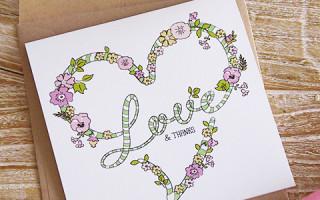 Простой мастер класс как сделать открытку своими руками с надписью LOVE + шаблон для печати