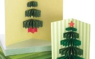 Новогодняя открытка с объемной елочкой своими руками