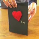 Открытка ко дню Святого Валентина с объемным сердцем своими руками