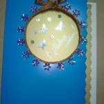 Новогодняя открытка с бантиком и окном своими руками