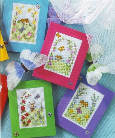 Простые открытки с вышивкой своими руками, открытки стихами осени
