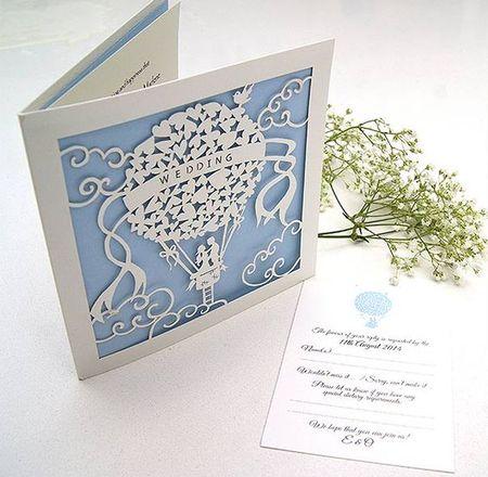 изображение двухслойной свадебной открытка в технике вырезания