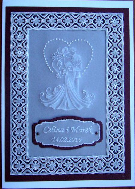 на фото свадебная открытка в технике пергамано