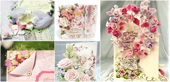 на фото свадебные открытки своими руками в виде букета цветов