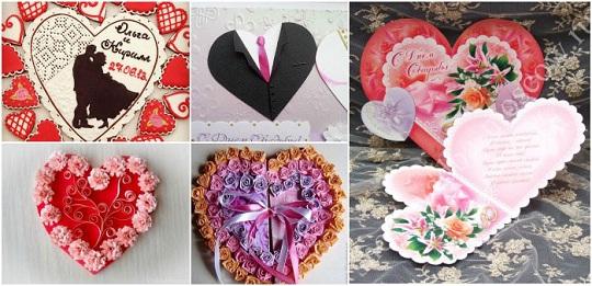 на фото свадебные открытки своими руками в виде сердца