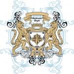 Образец принта для футболки «Гепарды и щит»